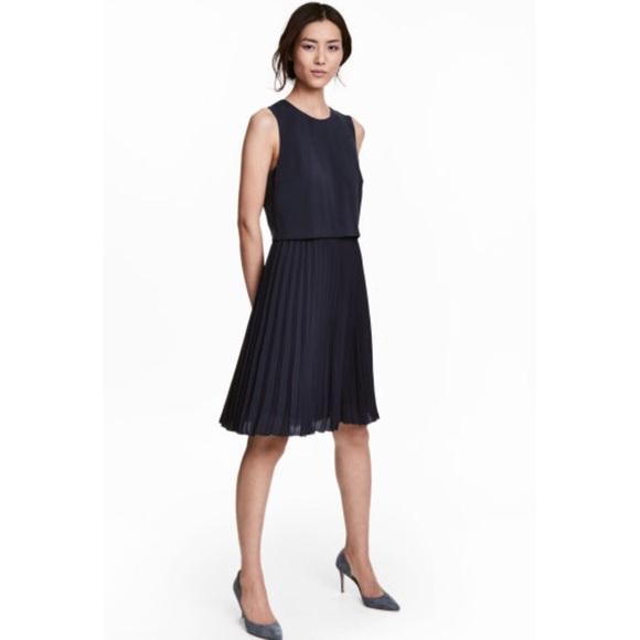 bc2e1d38874e H&M Dresses | Hm Pleated Dress Navy Blue | Poshmark